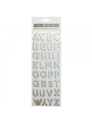 Adesivo Decorativo Letras Alfabeto Prateado 30.5x10cm