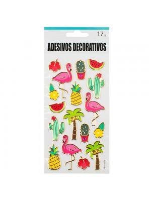 Adesivo Decorativo Flamingos 22x9.5cm