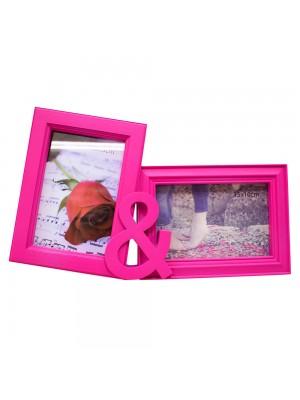 Porta Retrato Rosa & 2 Fotos 10x15cm - Turma Da Mônica