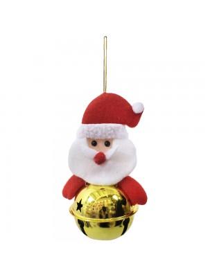 Boneco Papai Noel Com Sino Amarelo 13cm - Enfeite Natalino