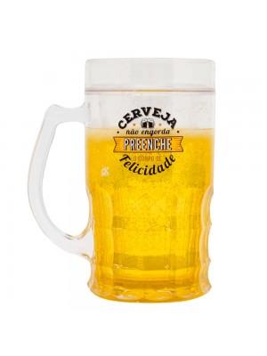 Caneca Cerveja Não Engorda Preenche O Corpo De Felicidade 400ml - Projeto Kiwi