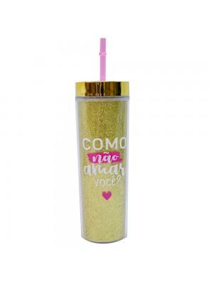 Copo Canudo Cilindro Dourado 450ml - Projeto Kiwi