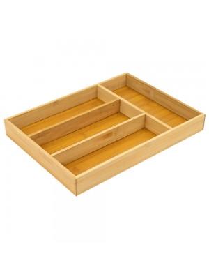 Porta Talheres Bambu 4 Divisórias 4x32.5x24cm