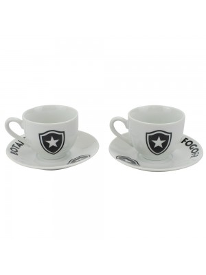 Jogo Com 2 Xícaras De Porcelana 80ml - Botafogo
