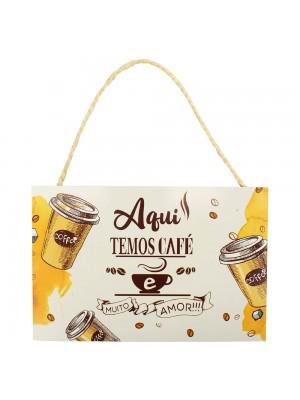 Placa Decorativa Aqui Temos Café E Muito Amor 20x30cm