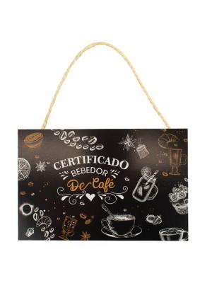 Placa Decorativa Certificado Bebedor De Café 20x30cm