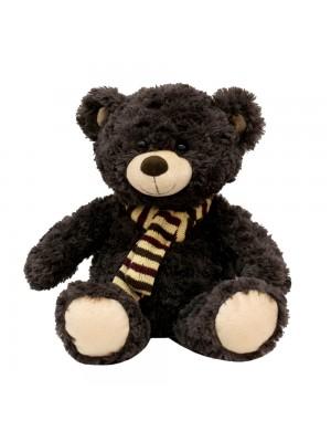 Urso Marrom Escuro Sentado Cachecol 37cm - Pelúcia