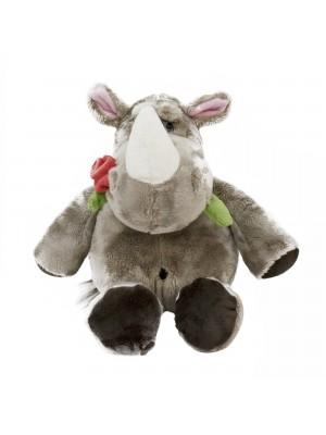 XT8815-35-F | Rinoceronte Com Rosa Na Boca 23cm - Pelúcia
