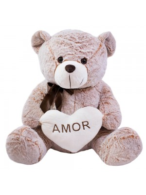 Urso Coração Amor Marrom Alaranjado 75cm - Pelúcia