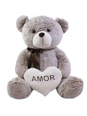 Urso Coração Amor Marrom Acinzentado 60cm - Pelúcia