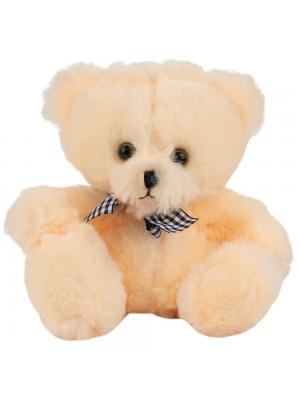 Urso Bege Laço Sentado 18cm - Pelúcia