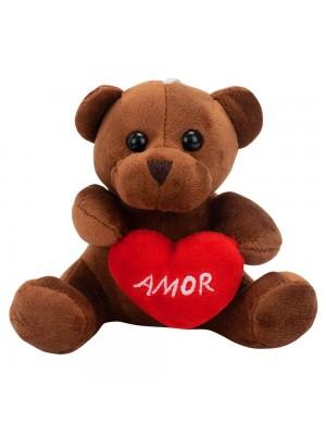 Chaveiro Urso Marrom Escuro Coração Amor 12cm - Pelúcia