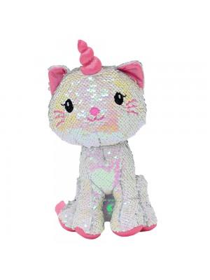 Gato Unicórnio Lantejoulas Rosa Prateado 28cm - Pelúcia