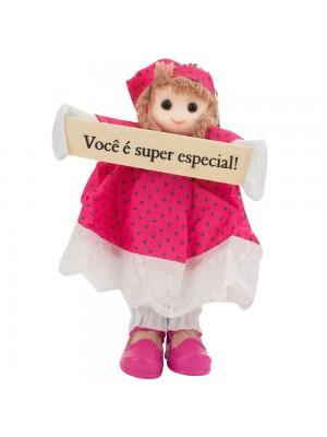 Boneca Placa Você É Super Especial 16cm