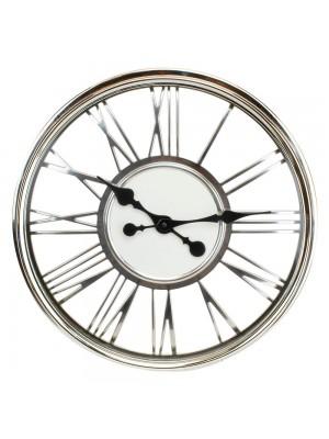 Relógio Parede Prateado Numeração Romana 41x41cm